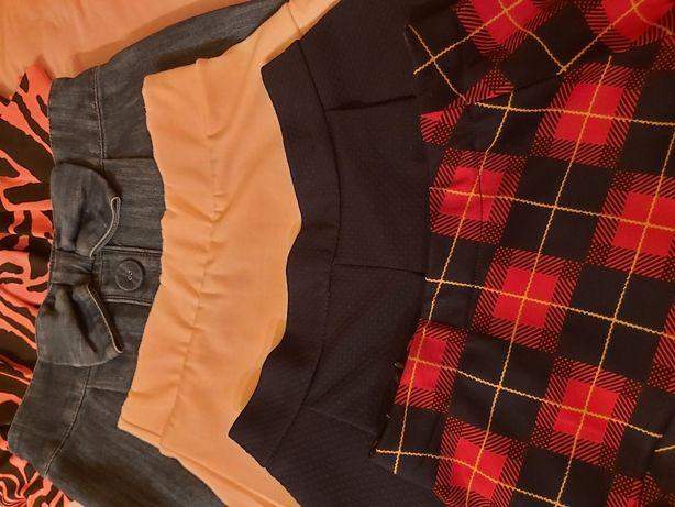 Zestaw 5 spódnic Spódnica jeans apelowa jasna w kratkę 134/140