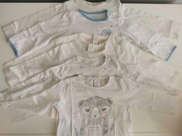 Biała bluzka z długim rękawem RESERVED rozm. 74 cm