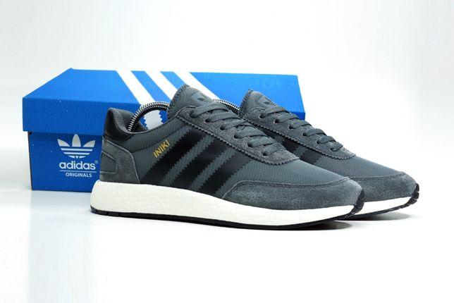484 Кроссовки Adidas Iniki (43-46) - Серые иники, Вьетнам, ТОП, замша