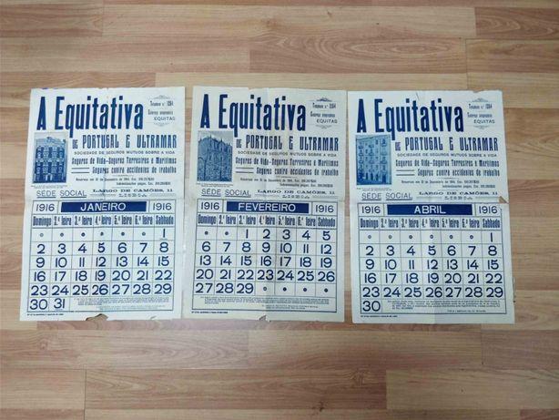 Raro calendario de parede A equitativa - 1916