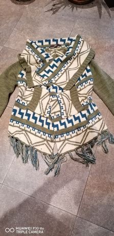 Sweterek sweter kardigan khaki boho frędzle