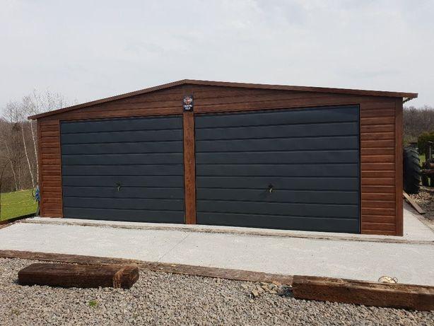 Garaż Drewnopodobny 7x8 Złoty Dąb Okno Drzwi