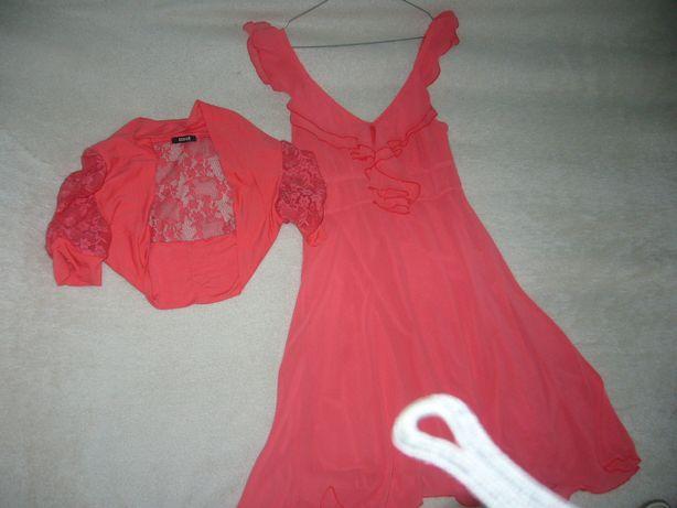 Sukienka rozmiar 36 w kolorze czerwonym + bolerko(kupione osobno)