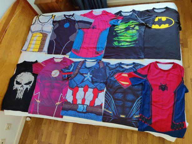 Vendo pack de 16 T-Shirts M de Compressão de Musculação da Marvel e DC