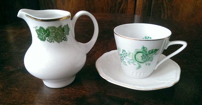 Filiżanka Zielona Róża porcelana Wawel i mlecznik Kahla Zielony liść