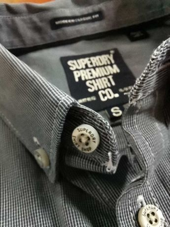 Koszula długi rękaw SuperDry kratka premium shirt modern classic Fit S