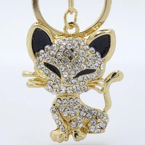 Brylok bryloczek przywieszka cyrkonie kot kotek złoty