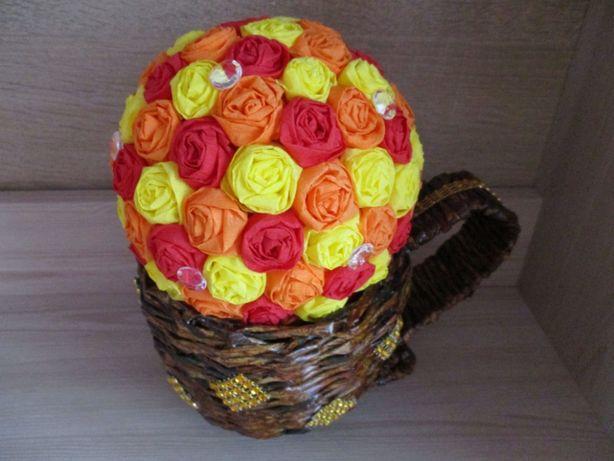 Kolorowy stroik podziękowania dla rodziców gości ślub, wesele handmade