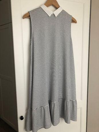 Sukienka w paski Pull&Bear kołnierzyk falbanka łezka 40 L