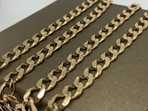 """Zjawiskowy złoty łańcuch """"pancerka"""" 585 48,5 cm 30g"""