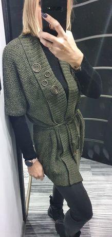 Bonita XL  brudna popielata zieleń khaki narzutka kardigan wiązany