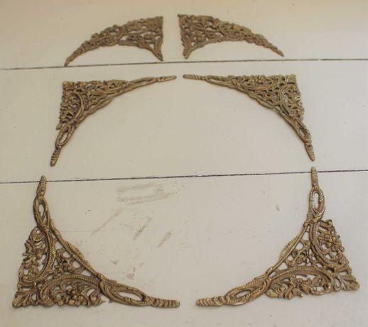 Conjunto de apliques decorativos antigos metálicos para relógios sala
