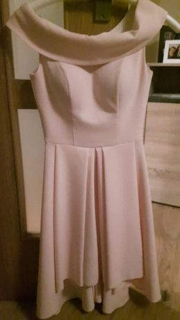 Śliczna sukienka Hiszpanka-pudrowy róż, wesele studniówka XS 34 EMO