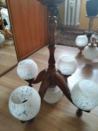 Żyrandol retro ciemne drewno 4 klosze