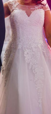 Piekna suknia slubna w rozmiarze 44, w ksztalcie litery A