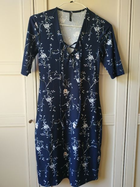 Granatowa sukienka XS obcisła sukienka midi ołówkowa sukienka