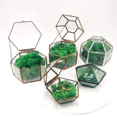 Шкатулка скринька скляна для обручок колец свадебный декор