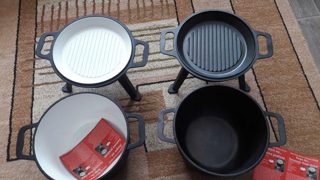 Kociołek żeliwny czarny, emaliowany 8 litrów 3w1