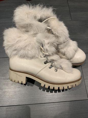 Badura buty botki oficerki z futerkiem naturalnym