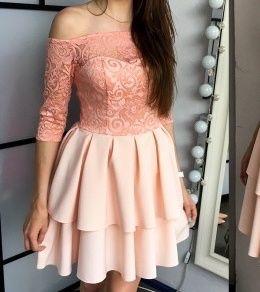 Sukienka rozkloszowana L sukienka wesele koronka falbany
