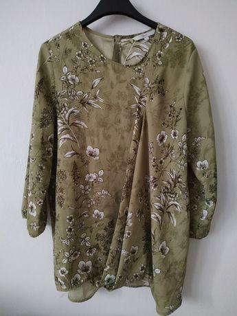 Zielona bluzka w kwiatki, bluzka koszulowa
