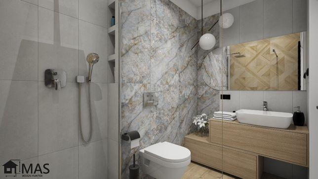 Projekt łazienki - projektowanie wnętrz - wizualizacje