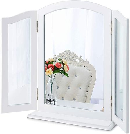 OUTLET - Potrójne lustro toaletka białe kosmetyczne do makijażu