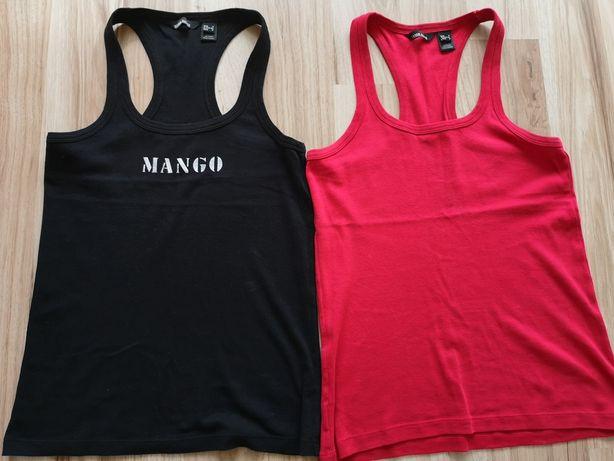 Bluzka bokserka Mango czerwona czarna na ramiączkach