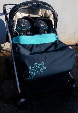 АКЦИЯ: -1000р! Шикарная коляска для двойни Heike Hauck,(0+)+подарок