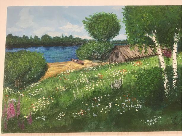 Продам Авторскую Объемную картину пейзаж У реки акрил мастихин