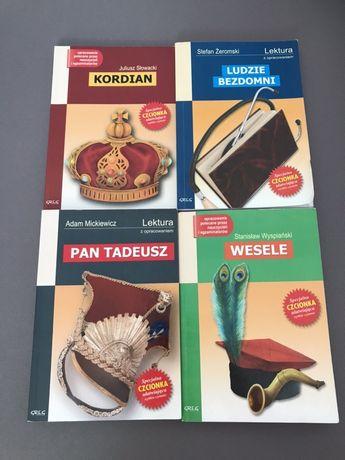 Lektury szkolne (Kordian, Pan Tadeusz, Wesele, Ludzie Bezdomni)