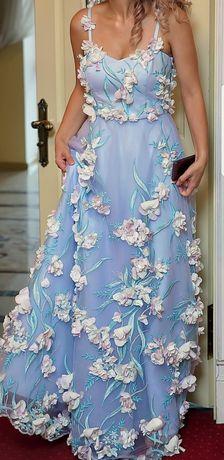 Шикарное вечернее платье, фатин, вышивка, цветы М