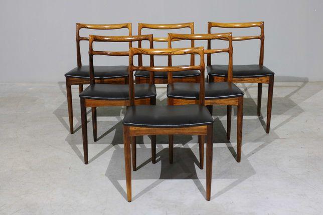 Conjunto de 6 cadeiras Chr. Linneberg em pau santo   Cadeiras nórdicas