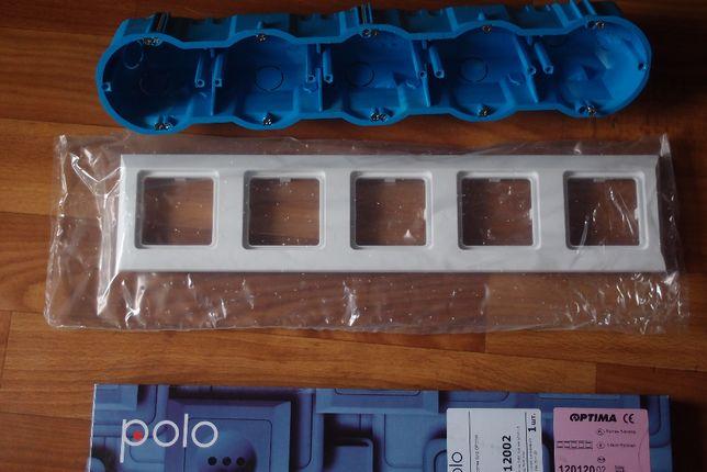 Подрозетник негорючий + Рамка для розеток белая 5-кратная Polo Optima