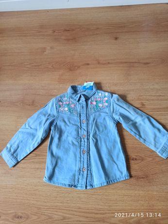 Nowa, jeansowa koszula, Pepco, wyszywane kwiaty, 80