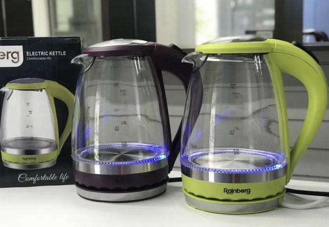 Новый Электрочайник Rainberg RB-701 стеклянный чайник скляний