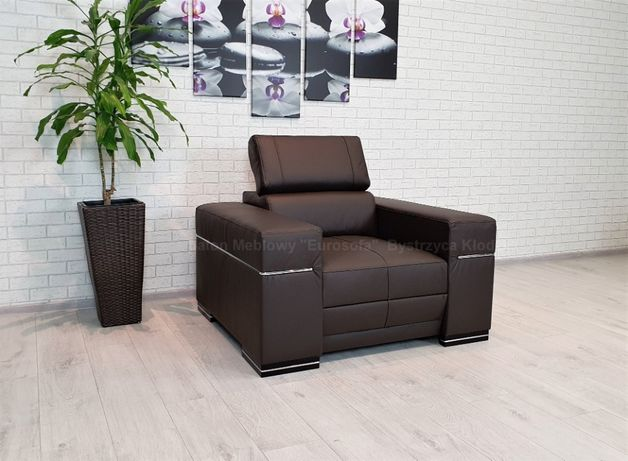 Skórzany Fotel z zagłówkiem fotele ze skóry skóra ciemny brąz