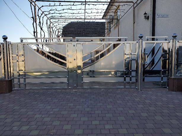 Нержавейка-ворота,перила,балконы,лестницы, козырьки, и прочее изделия!