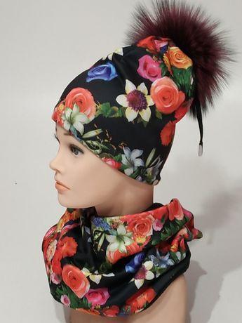Шапка женская c шарфом,шапка со снудом бренд Ruzhinska