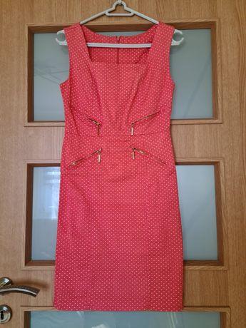 Śliczna koralowa sukienka w groszki S