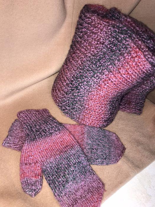 Вязаный набор варежки шарф Киев - изображение 1