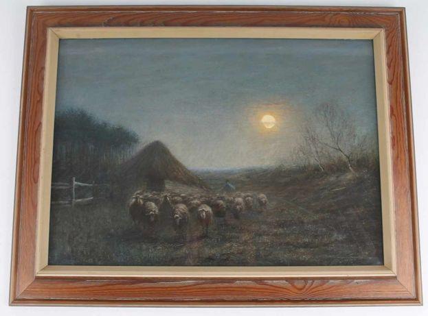 Obraz Owce o zmroku, Pastel. sygnowany.