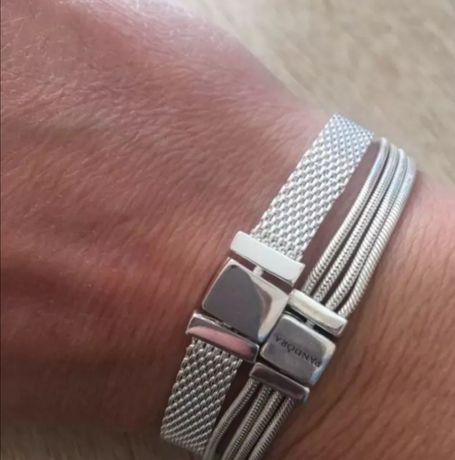 Bransoletka Pandora sznurki srebro próby S925