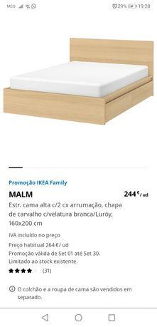 Cama de casal + colchão, com gavetas de arrumação
