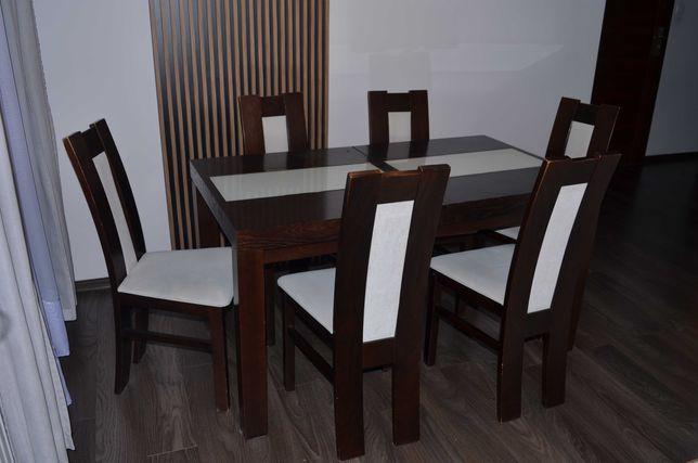 komplet stół drewniany i 6 krzeseł