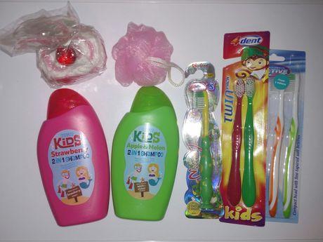 Детская косметика 1 лотом! шампунь гель для душа зубная щётка мочалка