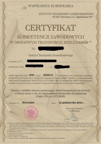 Użyczę certyfikatu CPC, Certyfikat CPC transport rzeczy