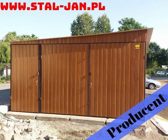Garaż blaszany 4x5 złoty dąb, dach spad boczny, małopolska
