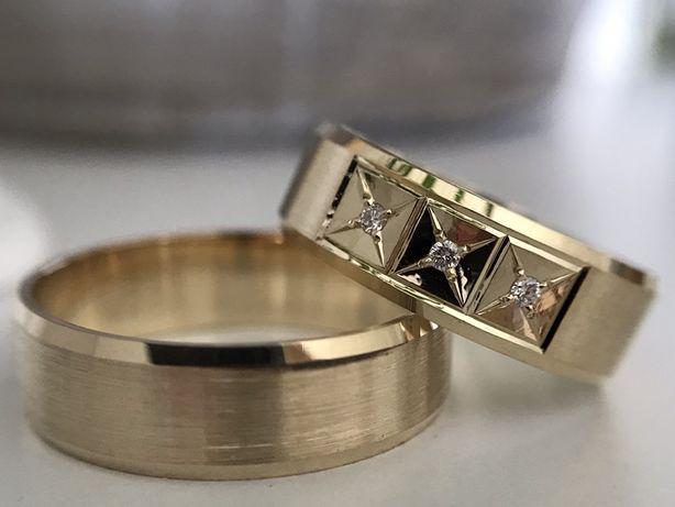 ZŁOTE Obrączki Trzy Diamenty PARA-PR 585 6mm BEZSZWOWE Fazowane