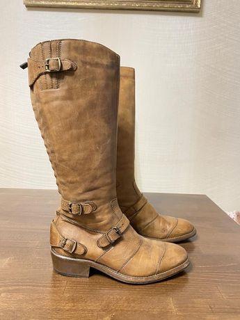 Belstaff оригинал италия дизайнерские кожаные бежевые сапоги